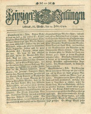 Leipziger Zeitungen vom 24.02.1744