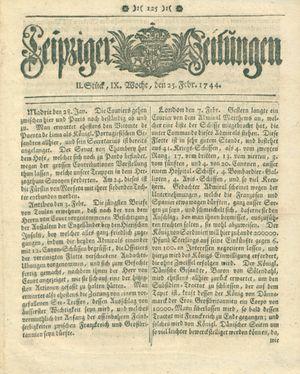 Leipziger Zeitungen vom 25.02.1744