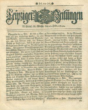 Leipziger Zeitungen vom 26.02.1744