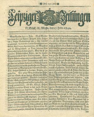 Leipziger Zeitungen vom 27.02.1744