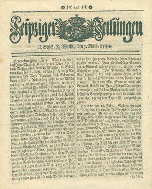 Leipziger Zeitungen vom 03.03.1744