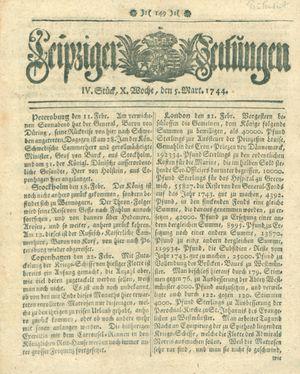 Leipziger Zeitungen vom 05.03.1744