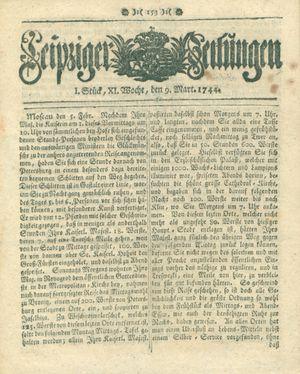 Leipziger Zeitungen vom 09.03.1744