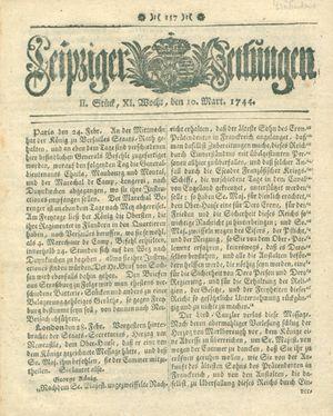 Leipziger Zeitungen vom 10.03.1744