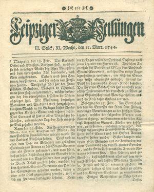 Leipziger Zeitungen vom 11.03.1744