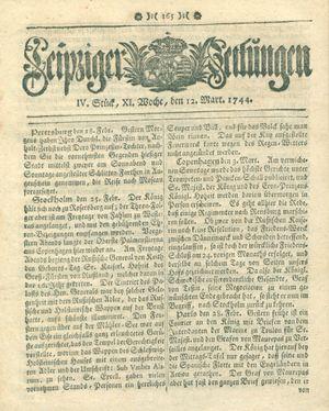 Leipziger Zeitungen vom 12.03.1744