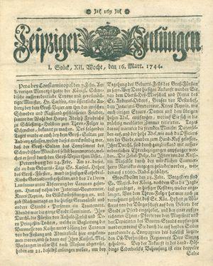 Leipziger Zeitungen vom 16.03.1744