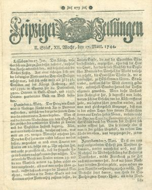 Leipziger Zeitungen vom 17.03.1744
