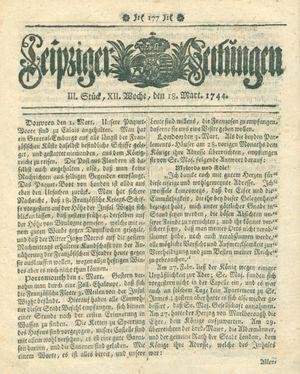 Leipziger Zeitungen vom 18.03.1744