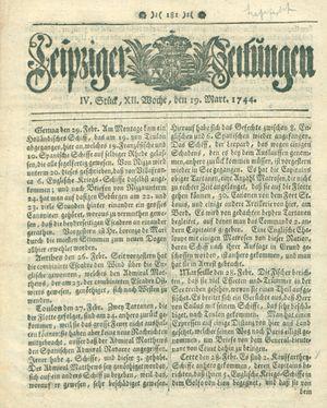 Leipziger Zeitungen vom 19.03.1744