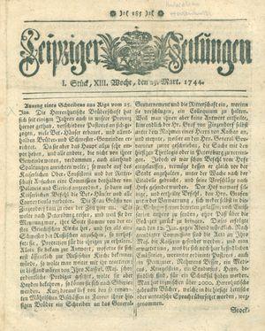 Leipziger Zeitungen vom 23.03.1744