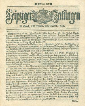 Leipziger Zeitungen vom 25.03.1744
