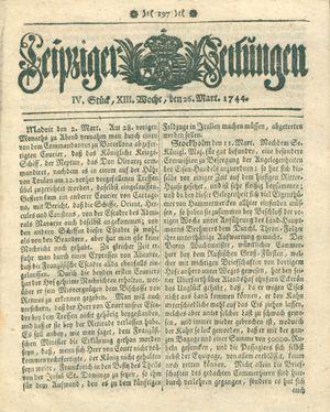 Leipziger Zeitungen vom 26.03.1744