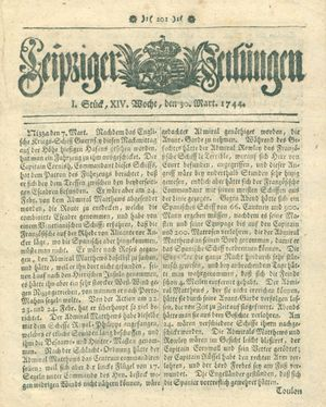 Leipziger Zeitungen vom 30.03.1744