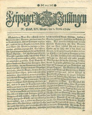 Leipziger Zeitungen vom 02.04.1744