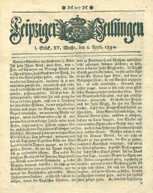 Leipziger Zeitungen vom 06.04.1744