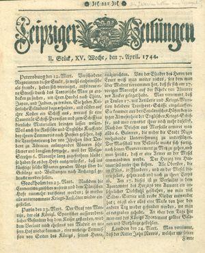 Leipziger Zeitungen vom 07.04.1744