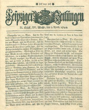 Leipziger Zeitungen vom 08.04.1744