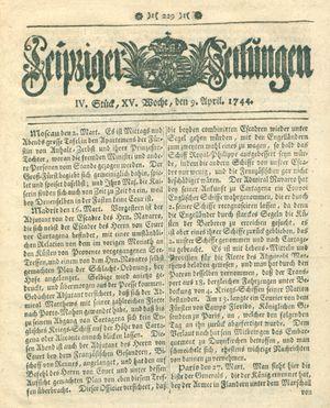 Leipziger Zeitungen vom 09.04.1744