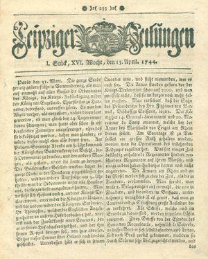 Leipziger Zeitungen vom 13.04.1744