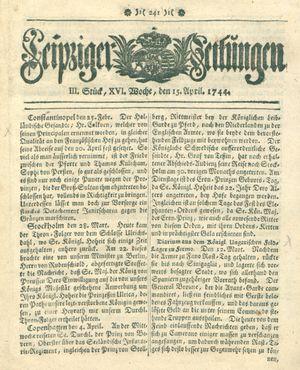 Leipziger Zeitungen vom 15.04.1744