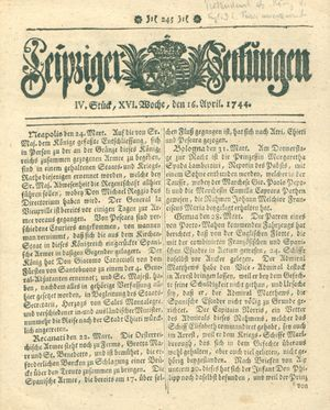 Leipziger Zeitungen vom 16.04.1744