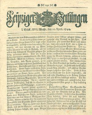 Leipziger Zeitungen vom 20.04.1744