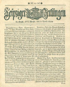 Leipziger Zeitungen vom 22.04.1744