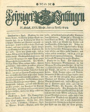 Leipziger Zeitungen vom 23.04.1744