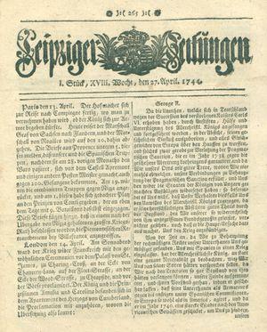 Leipziger Zeitungen vom 27.04.1744