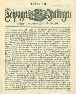 Leipziger Zeitungen vom 28.04.1744