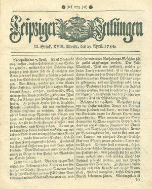 Leipziger Zeitungen vom 29.04.1744