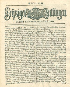 Leipziger Zeitungen vom 30.04.1744