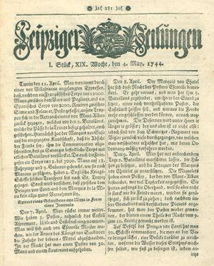 Leipziger Zeitungen vom 04.05.1744
