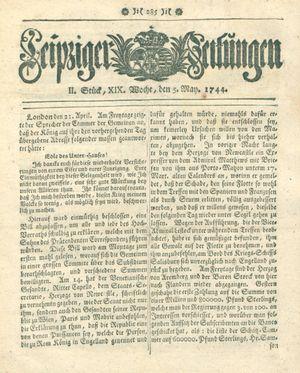 Leipziger Zeitungen vom 05.05.1744