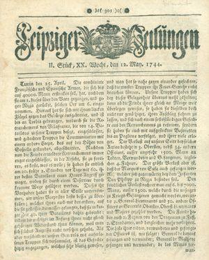 Leipziger Zeitungen vom 12.05.1744