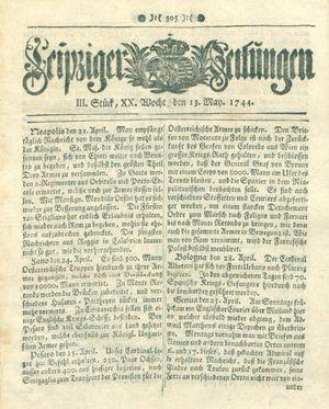 Leipziger Zeitungen vom 13.05.1744