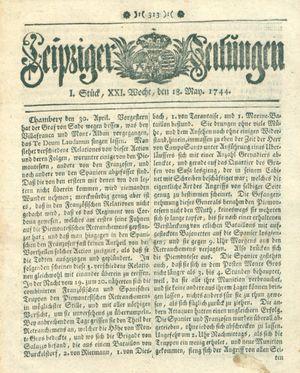 Leipziger Zeitungen vom 18.05.1744