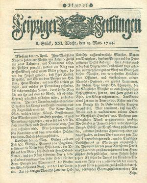 Leipziger Zeitungen vom 19.05.1744