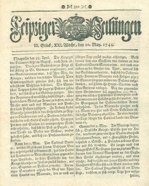 Leipziger Zeitungen vom 20.05.1744