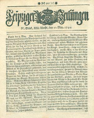 Leipziger Zeitungen vom 21.05.1744