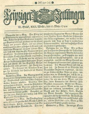 Leipziger Zeitungen vom 27.05.1744