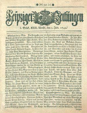 Leipziger Zeitungen vom 01.06.1744
