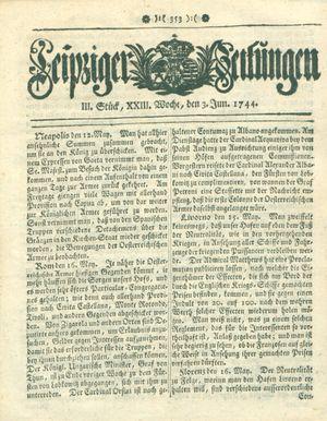 Leipziger Zeitungen vom 03.06.1744
