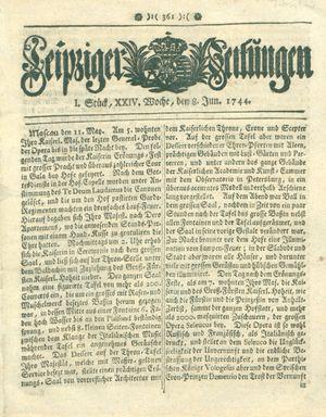 Leipziger Zeitungen vom 08.06.1744