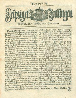 Leipziger Zeitungen vom 10.06.1744