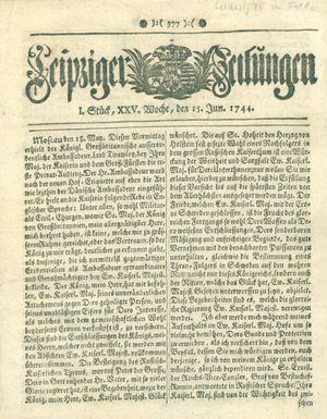 Leipziger Zeitungen vom 15.06.1744