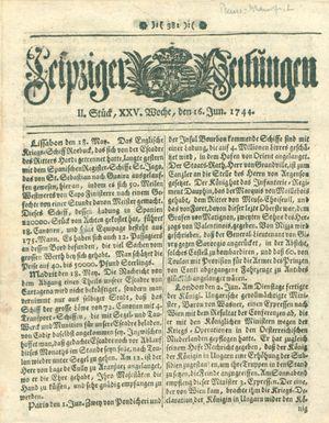 Leipziger Zeitungen vom 16.06.1744