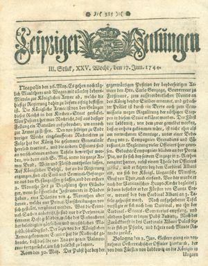 Leipziger Zeitungen vom 17.06.1744