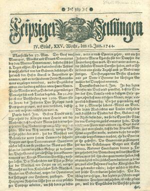 Leipziger Zeitungen vom 18.06.1744